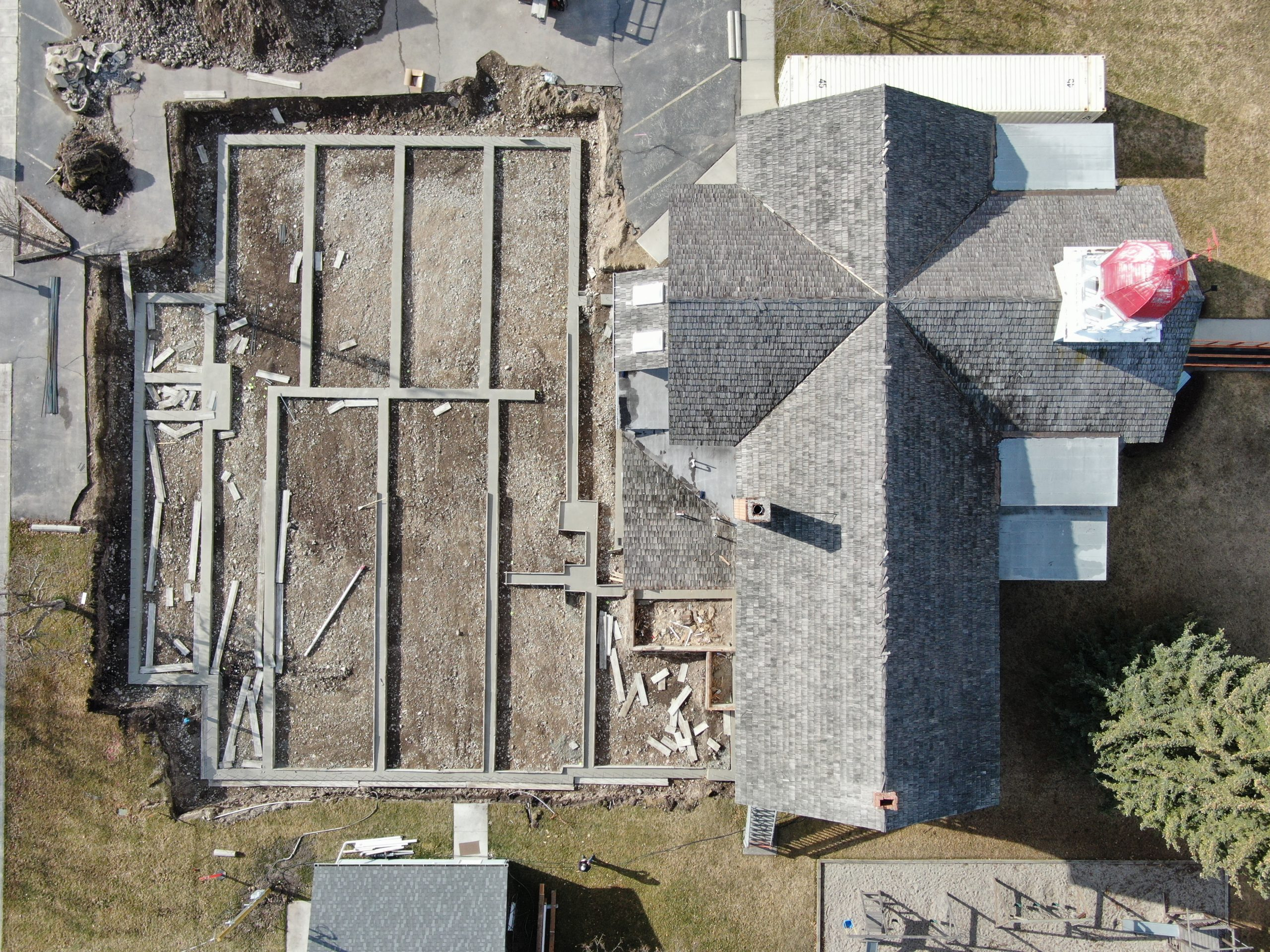 Aerial of foundation 2/27/21